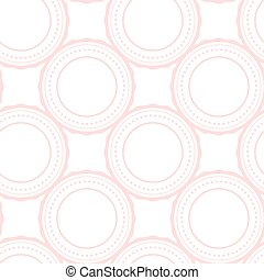 Pink rings abstract seamless pattern on white