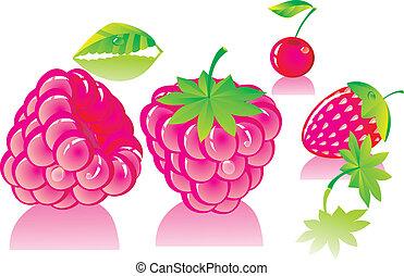 pink ripe raspberries