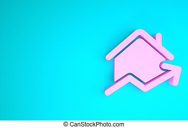 Pink Rising cost of housing icon isolated on blue background. Rising price of real estate. Residential graph increases. Minimalism concept. 3d illustration 3D render