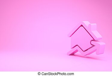 Pink Rising cost of housing icon isolated on pink background. Rising price of real estate. Residential graph increases. Minimalism concept. 3d illustration 3D render