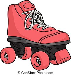 pink roller skate vector illustration sketch doodle hand drawn with black lines isolated on white background