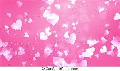 Pink Romantic hearts bokeh Seamless loop background 4K Animation.