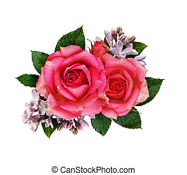 Pink rose and lilac flowers bouquet