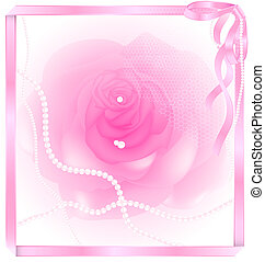 pink rose and pearl - white-pink background, frame-ribbon...