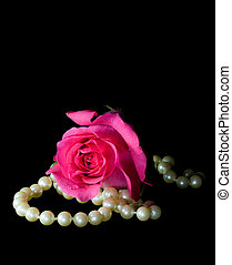 Pink rose and string of pearls isolated on black background.