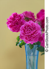 Pink rose bouquet in blue vase on plank wooden background