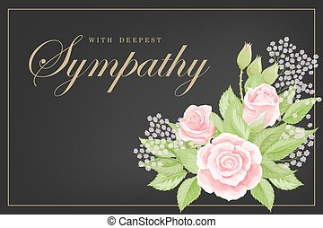 Pink rose bouquet on black background. Save the date, sympathy, condolences or strict style postcard vector template