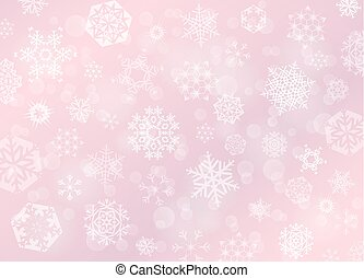 Pink rose Christmas background with white snowflakes