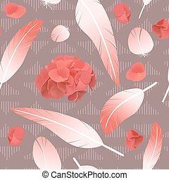 Pink rose feathers seamless pattern fluffy twirled spotted feathers and hydrangea flowers,