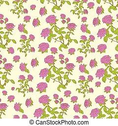 pink rose flower seamless pattern vector