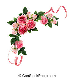 Pink rose flowers and ribbons corner arrangement isolated on...