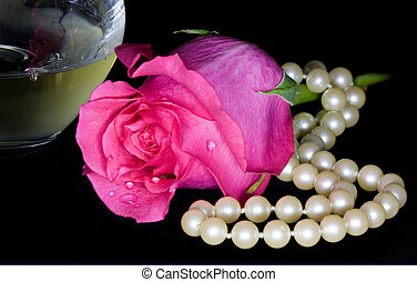 Pink Rose, Pearls, and Wine - A bright pink rose with dewey...