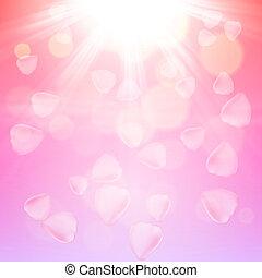 Pink rose petals background. EPS10 vector.