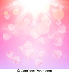 Pink rose petals background. EPS10 vector.