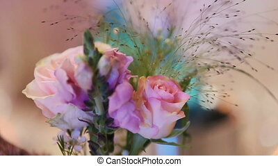 Pink rose petals close up. Wedding floral decorations