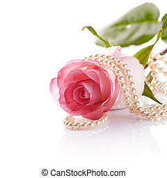 Pink rose and pearl beads. - Pink rose. Rose on a white...