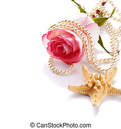 Pink rose with a pearl beads and a starfish. - Pink rose....