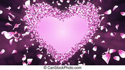 Animation of romantic flying pink rose sakura flower petals in shape of heart with alpha matte placeholder. For St. Valentine's Day, Mother's Day, wedding anniversary greeting cards, wedding invitation or birthday e-card. Seamless loop 4k