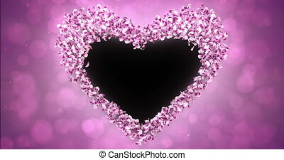 Pink Rose Sakura Flower Petals In Heart Shape Alpha Matte Loop Placeholder 4k