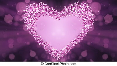 Pink Rose Sakura Flower Petals In Heart Shape Alpha Matte Loop Placeholder
