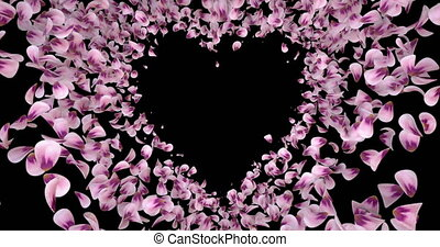 Pink Rose Sakura Flower Petals In Heart Shape Alpha Matte Placeholder Loop 4k