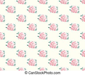 Pink Rose Seamless on Beige Ivory Background