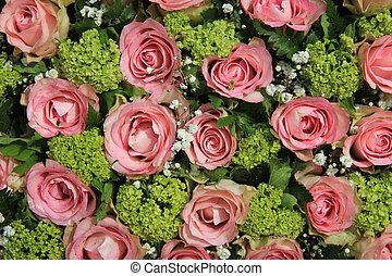 Pink rose wedding centerpiece