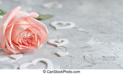 Pink rose with hearts