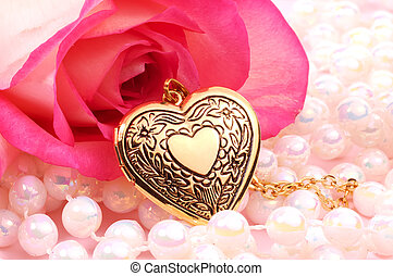 Heart Locket - Pink Rose with Pearls and a Heart Locket