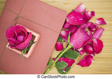 Pink rose with pink box on wooden background