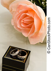 Pink Rose with Wedding Rings
