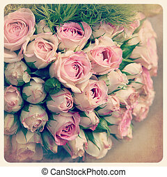 Pink rosebuds old photo - Bouquet of faded pink rosebuds. ...