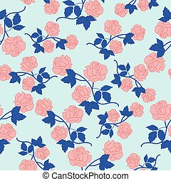 Pink roses and blue leaves in a seamless pattern design