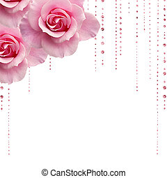 pink roses and jewels - pink roses with droplets of jewels...