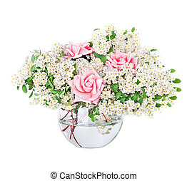 Pink roses and many small beautiful flowers in a vase with water on a white background