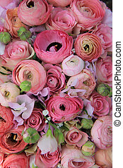 Pink roses and ranunculus bridal bouquet - Pink roses and ...