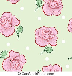 Pink roses and white dots on green seamless pattern
