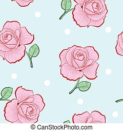 Pink roses and white dots seamless pattern