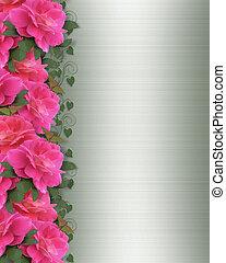 Pink Roses Border on green satin