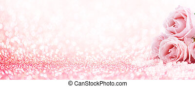 Pink roses bouquet and pearls on abstract blur pastel background. Wedding flowers and bright bokeh glitter backdrop.