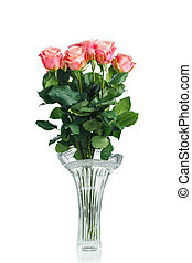 pink roses bouquet in crystal vase, isolated on white