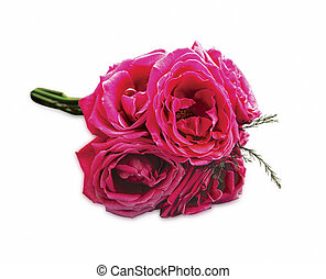 Pink roses bouquet isolated on white