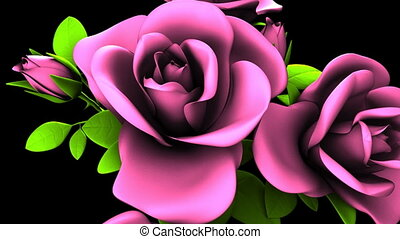 Pink Roses Bouquet On Black Background