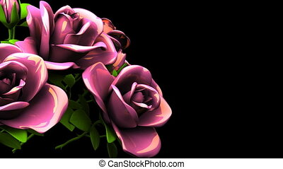 Pink Roses Bouquet On Black Text Space