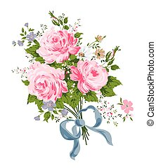 Pink roses bouquet with blue silk ribbon.