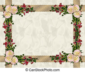 Pink roses exotic floral border - Image and illustration...
