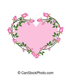 Pink Roses Flowers in A Heart Shape
