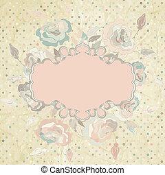Pink roses frame on beidge polka dot. EPS 8