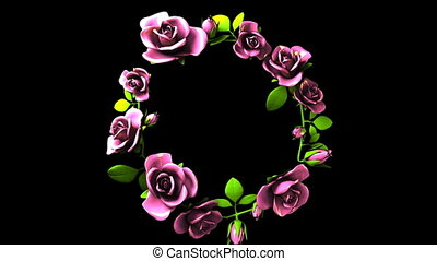 Pink Roses Frame On Black Text Space. Zoom View. 3DCG render Animation.