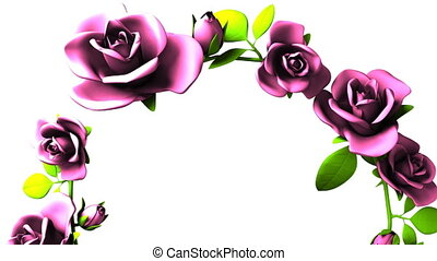 Pink Roses Frame On White Text Space. Loop able 3DCG render Animation.